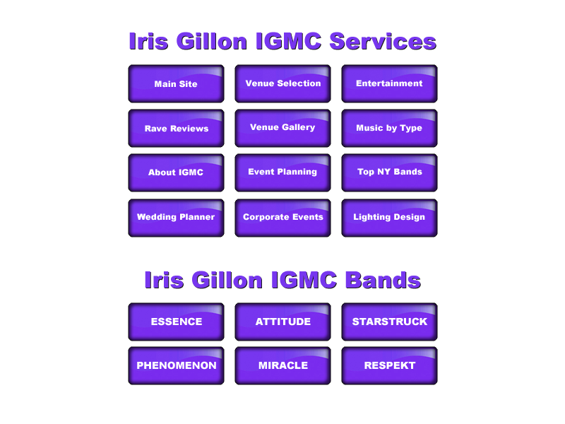 Iris Gillon IGMC Event Music Corporate Wedding Locations NYC NJ New York New Jersey